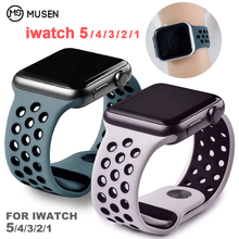 Мягкий силиконовый сменный спортивный ремешок для Apple Watch, 38 мм, 40 мм, серия 1, 2, 3, 4, 5, 42 мм, 44 мм, браслет на запястье, ремешок для iWatch Sports