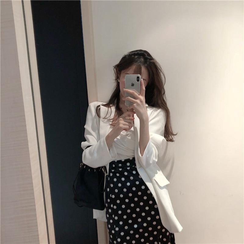 Stylish Casual Ladies Blazer Solid White Simple Loose Suit Jacket Blazer Cuadros Mujer Korean Spring Party Women Blazer MM60NXZ