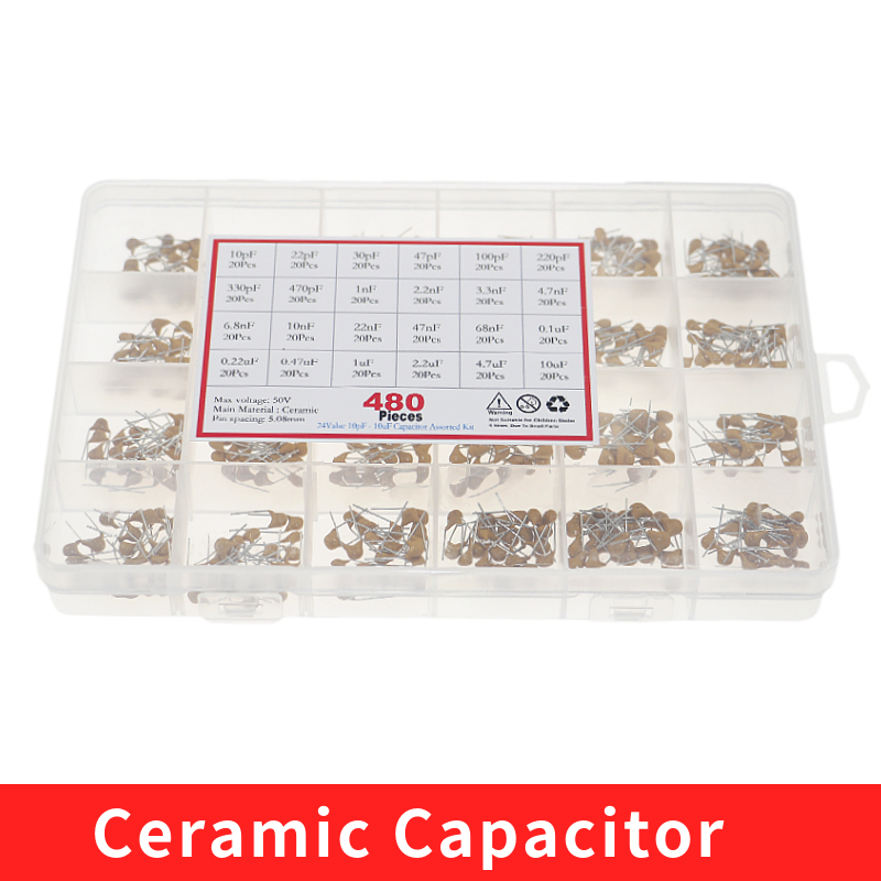 24 valores * 20 piezas = 480 piezas condensador cerámico monolítico 10pF ~ 10uF, Kit surtido de condensadores cerámicos + caja