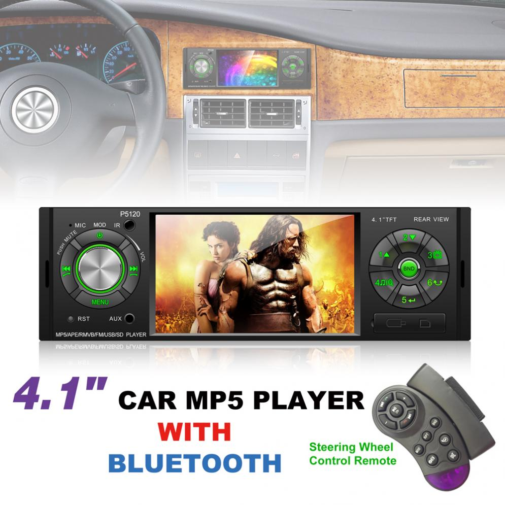 P5120 4.1 Inch 1 Din Bluetooth Car MP5 Player TFT Screen Stereo Audio FM Station Auto Video with Remote Control New image