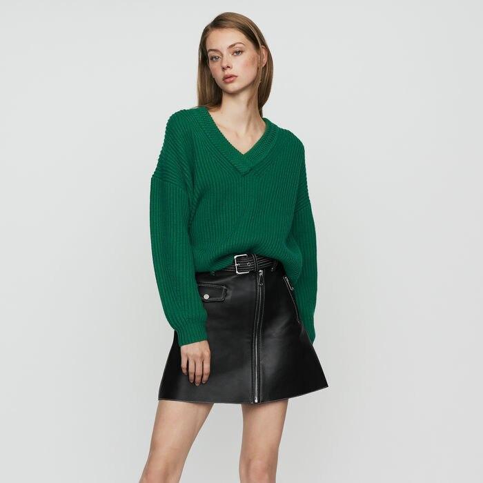 เสื้อกันหนาวผู้หญิงหลวมออกแบบ V คอ Whorl โคมไฟแขนเสื้อถักเสื้อกันหนาว-ใน เสื้อคลุมสวมศีรษะ จาก เสื้อผ้าสตรี บน   1