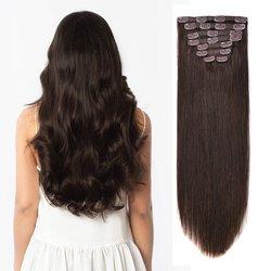 Накладные человеческие волосы BHF с зажимом, 100% прямые натуральные человеческие волосы Remy с полной головкой от 70 г до 140 г