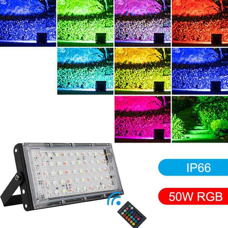 AC220-240V Floodlight 50W LED Flood Light RGB 7 Modes LED Flood Light Waterproof IP66 Spotlight Wall Street with remote control