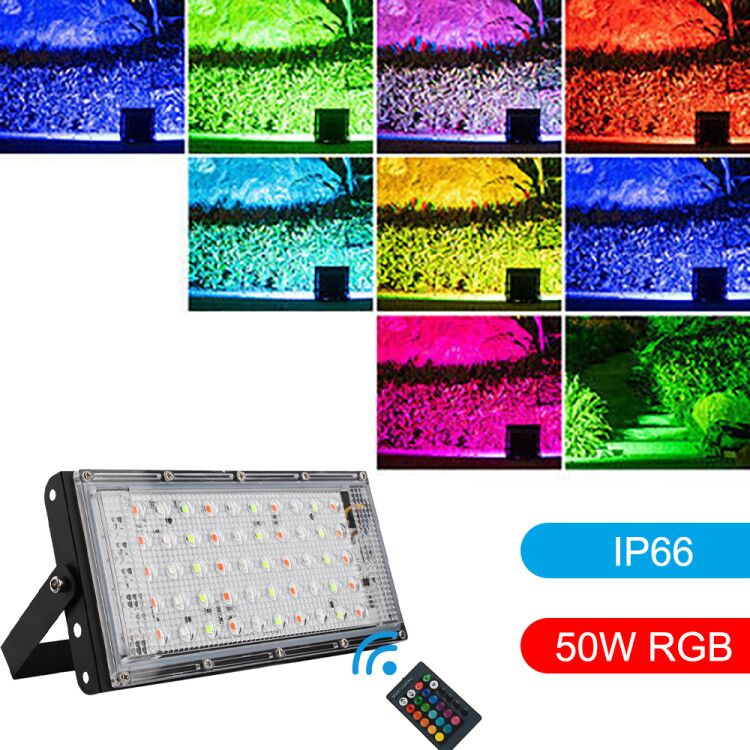 AC220-240V Floodlight 50W LED Flood Light RGB 7 Modes LED Flood Light Waterproof IP66 Spotlight Wall Street With Remote Control