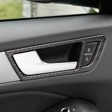 ملصق تزيين إطار مقبض باب السيارة الداخلي ، تقليم من ألياف الكربون لأودي Q5 2010 2016 ، ملحقات معدلة داخلية