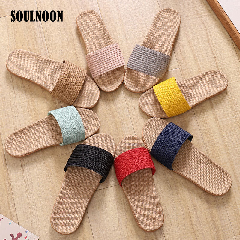 Summer Women Slippers Breathable Soft Flax Slides Couple Indoor Home Flip Flops Female Flat Sandals Unisex Outdoor Beach Shoes