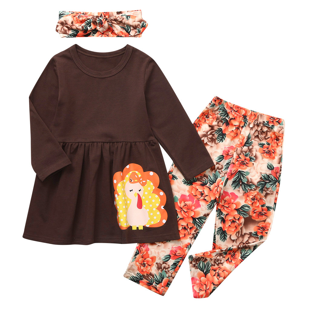 Toddler Kids Baby Girls Thanksgiving T shirt Floral Pants Costume Outfits Set