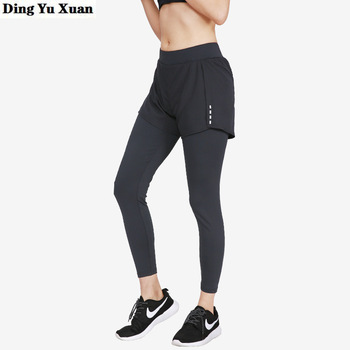 Female Faux Two Piece Gym Fitness Leggings Tight Workout Pants Women Activewear Stretch Joggers Sweatpants High Waist Trousers