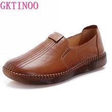 GKTINOO 2020 el yapımı hakiki deri sonbahar kadın ayakkabı anne loaferlar Slip On yumuşak alt düz rahat tek ayakkabı