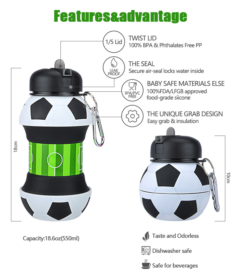 2019 Wholesale Novelty Football Sports Foldable Collapsible Travel Silicone Water Bottle