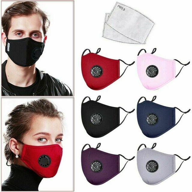 PM2.5 Valved Mask Dust Respirator Mask Washable Reusable Face Masks Cotton Unisex Mouth Mask Muffle + 2pc Filter Air Pads 2