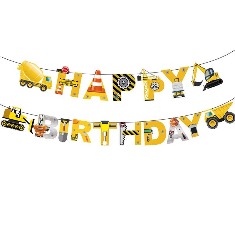 1 комплект строительных тракторов, надувные воздушные шары, грузовик, автомобиль, баннеры, украшение торта, аксессуары для дня рождения