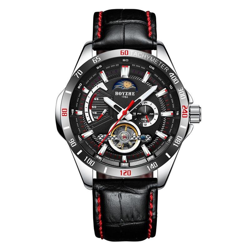 BOYZHE New Tourbillon watch men's business automatic mechanical watch male hollow watches waterproof moon phase luminous clock