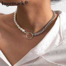 Goth Baroque Pearl Link Choker Necklace 2020 Fashion Statement Wedding Punk Boho Beaded Crystal Chain Necklace for Women Jewelry