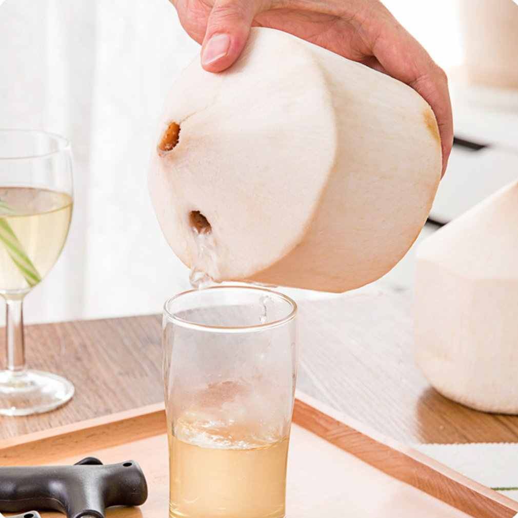 Stainless Steel Coconut Opener Coconut Knife CocoDrill Opening Tool Punch Tap Knife Opener for Raw Coco Water Juice