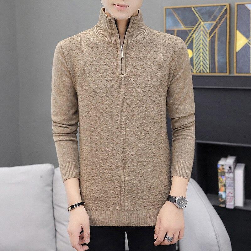Mens Sweaters Simple Zipper Distressed Sweater Solid Color Sweater Men Leisure Half Zipper Winter Sweater Turtleneck Casual