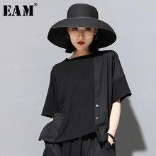 EAM media-Camiseta de manga con cuello redondo para mujer, Camiseta holgada de talla grande con botón negro y abertura, moda JX500, primavera y verano 2021