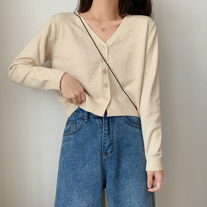 Vintage Stylish Solid Color Knitted Cardigan Women Fashion V Neck Long Sleeve Loose fitting  Sweater Top