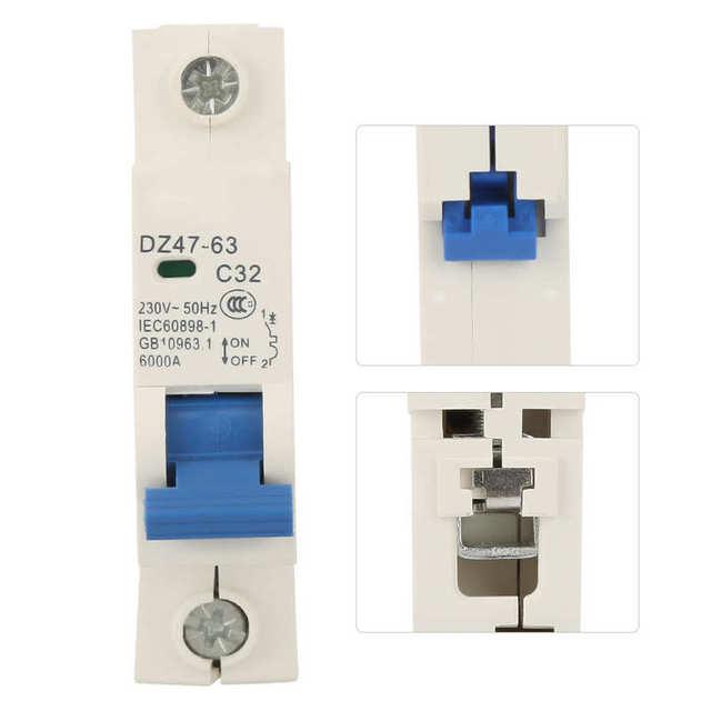 230VAC DZ47 63 1 pôle disjoncteur Miniature commutateur de coupure MCB disjoncteur