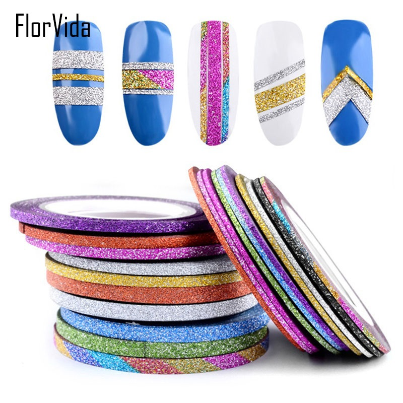 FlorVida 1pc Matte Line Roll 1/2/3mm Golden Silver Colorful Ring Sticker Self-sticking Nail Art Stickers Decorations