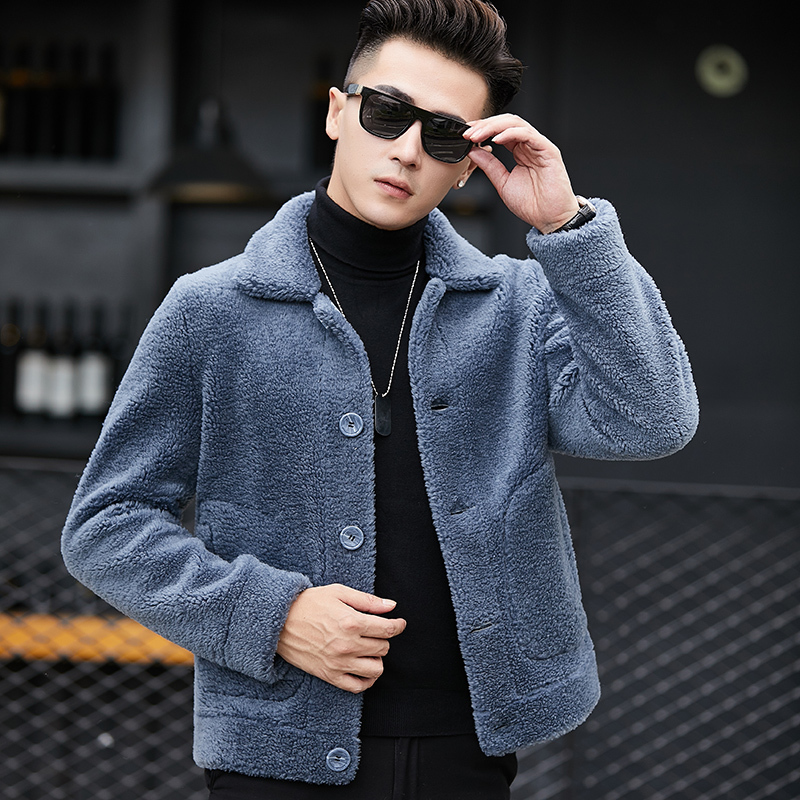 Winter Jacket Real Natural Fur Coat Men Sheep Shearing 100% Wool Coat Short Leather Jackets Two Side Wear YC1993 KJ820