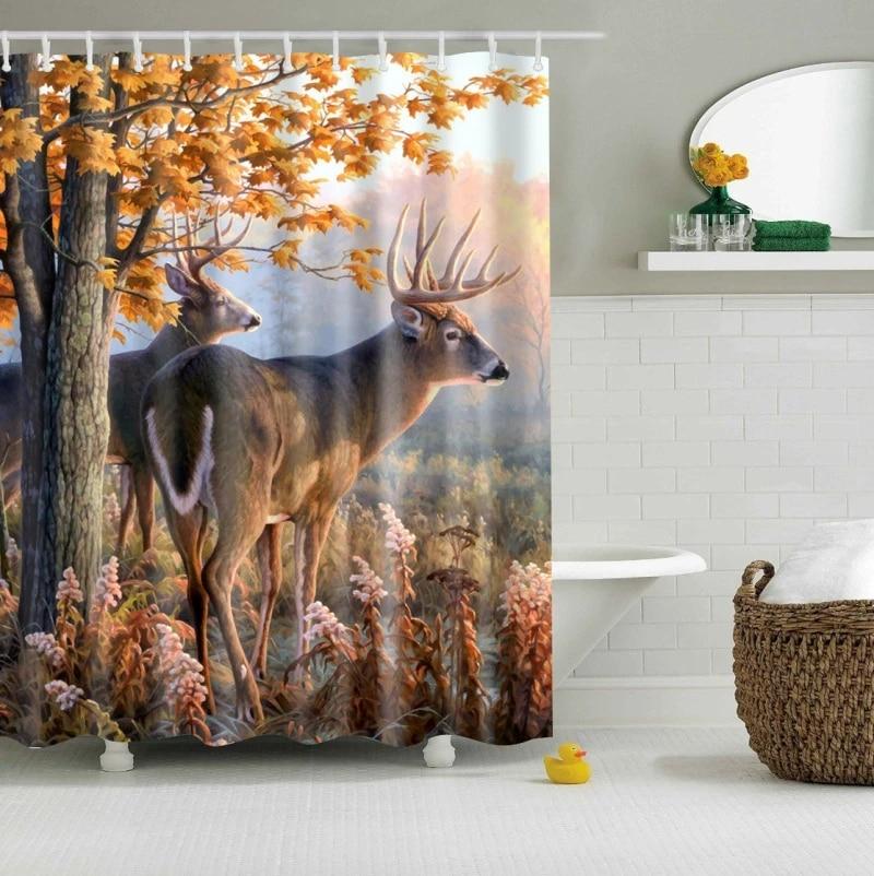 Elk Floral Moose Deer Shower Curtain 3d Bath Single Printing Waterproof Mildewproof For Bathroom Decor 150x180 Cortina De Ducha Shower Curtains Aliexpress