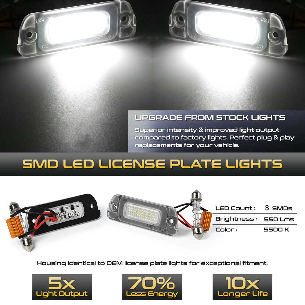 2PCS White LED License Plate Light For Mercedes-Benz AMG ML GL R Class W164 W251