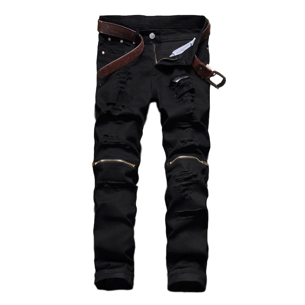 Idopy Men`s Fashion Street Style Jeans With Knee Zippers Distressed Ripped Hip Hop Stretchy Denim Joggers Pants