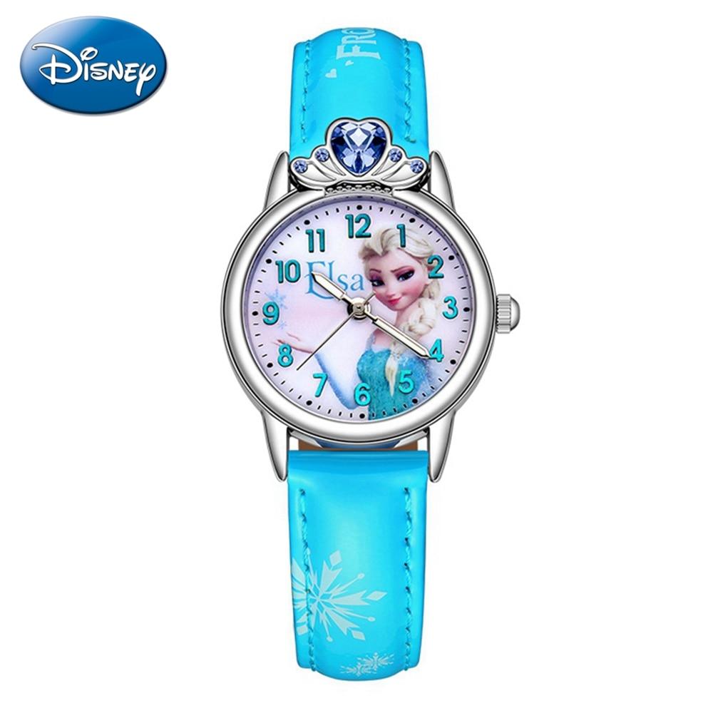 Beautiful Kids Girl Frozen Lady Cuties Quartz Watch Women Leather Crystal Jewelry Diamond Female Wristwatch Junior Time Clocks