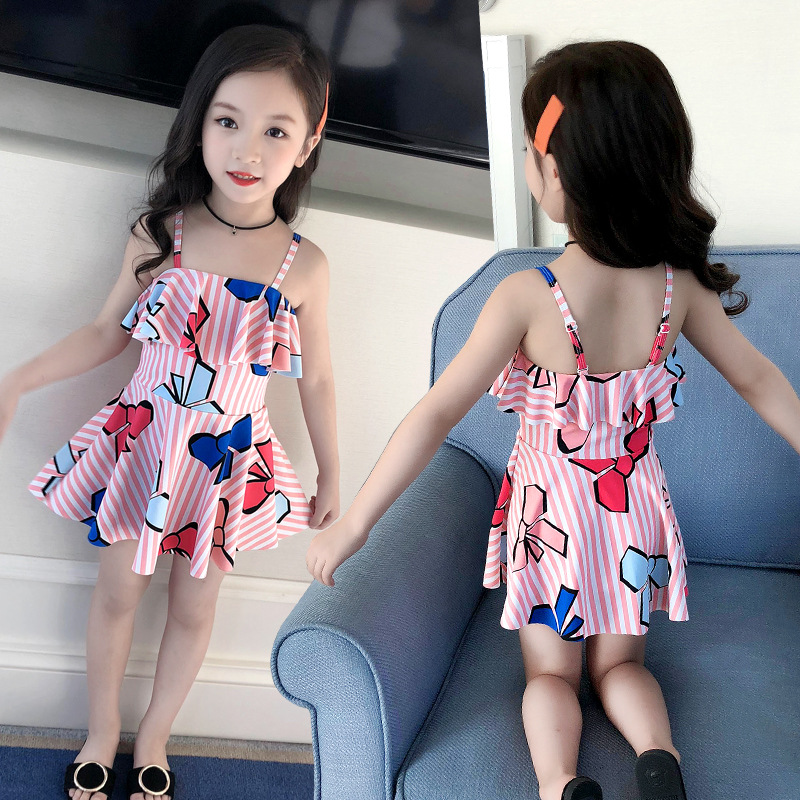 2019 KID'S Swimwear GIRL'S Small CHILDREN'S Big Boy One-piece Baby Swimming Girls Cute Swimwear Princess Dress-