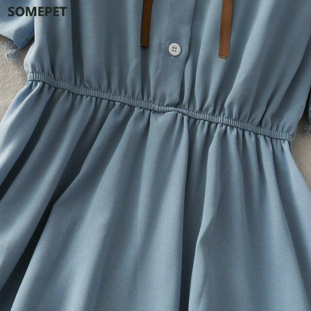 Dress Women Chiffon Bow Solid High Waist Turn-down Collar Preppy Style Popular Temperament Girls Summer Holiday 6