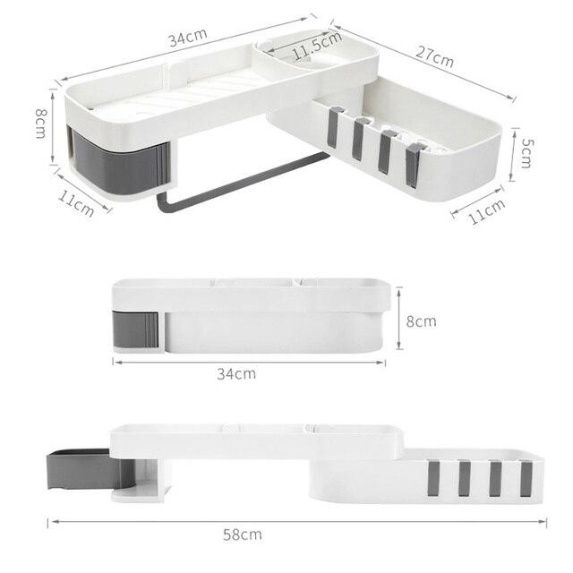 1 pcs  Corner Shower Shelf Bathroom Shampoo Shower Shelf Holder Kitchen Storage Rack Organizer Wall Mounted Type baño 4полка для 6