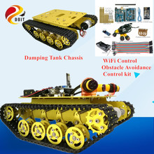 Official DOIT TS100 WiFi Control 3 Road Obstacle Avoidance Smart Robot Crawler Tank Car Chassis with Shock Absorption for Arduin doit wireless handle joystick control kit for robot crawler tank car chassis with arduino ir obstacle avoidance diy rc toy