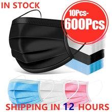 10/50/100/200/400/600 máscara descartável adulta dos pces máscara protetora máscaras confortáveis ajustáveis azuis para o trabalho exterior mascarillas