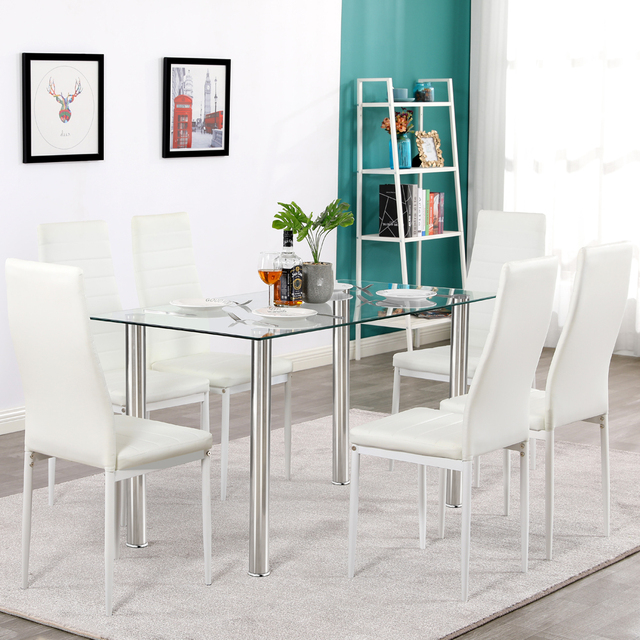 Dining Table Set Simple Transparent Glass&Iron Dinner Table + 6pcs Elegant Stripping Texture High Backrest Dining Chairs White 6