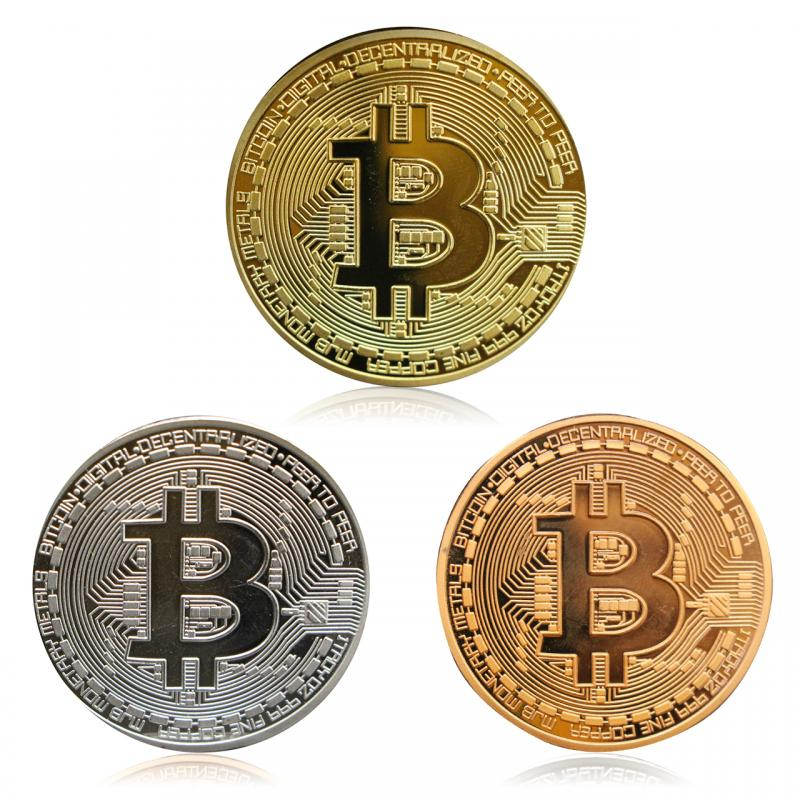 3 Color Gold Plated Bitcoin Coin Collectible Gift Antique Imitation Gift Souvenir Home Decoration Crafts Dropshipping