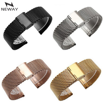 Metal Stainless Steel Milanese Watch Band Strap Wrist Watchband Buckle Black Rose Gold Silver 16mm 18mm 20mm 22mm 24mm Man Women maikes stainless steel watch buckle 16mm 18mm 20mm 22mm 24mm 26mm black silver rose gold leather watch band buckle