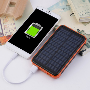 цена на Super Thin Large Capacity Waterproof Portable Solar Power Bank Dual USB Solar Charger For Mobile Phones For Iphone