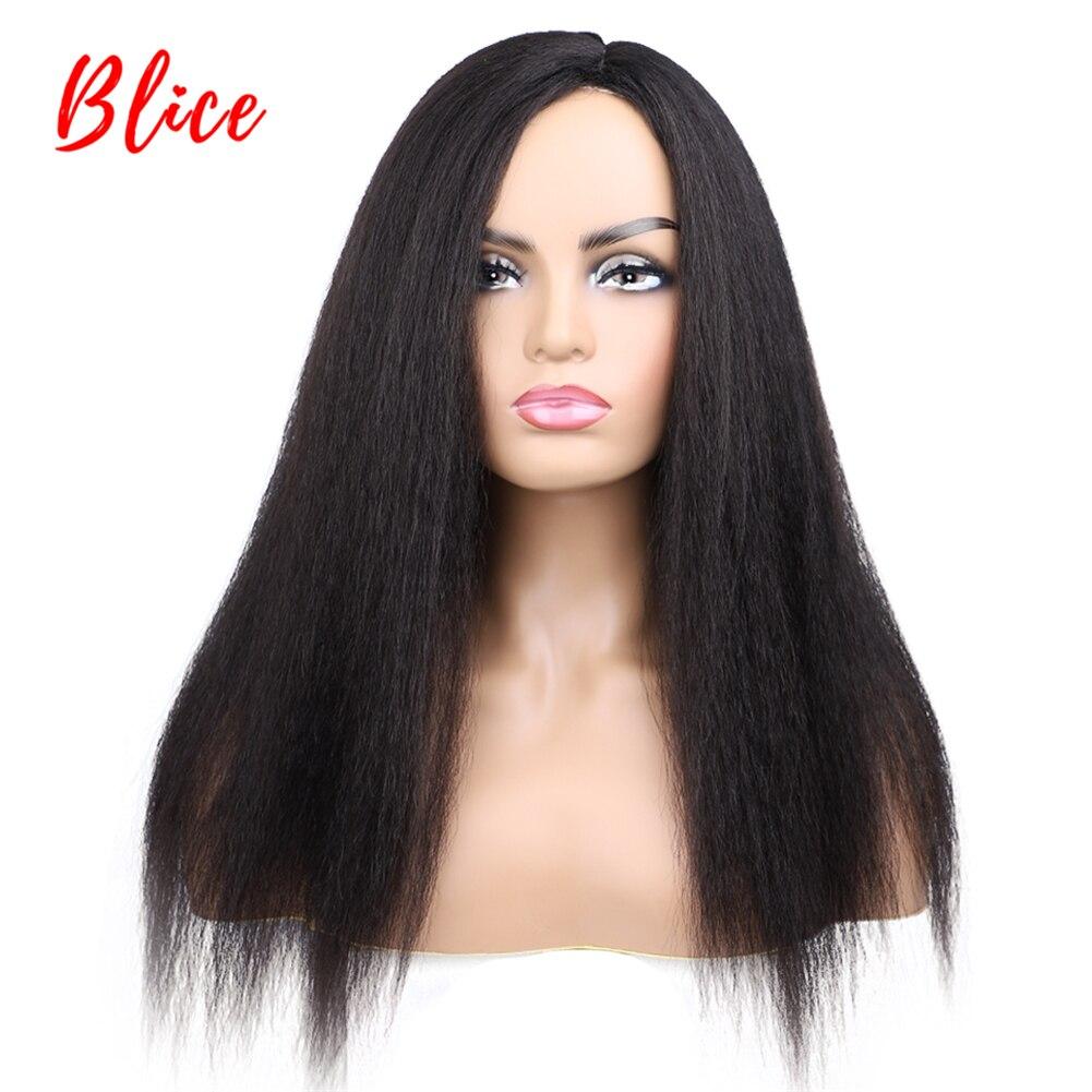 Blice longo kinky reta perucas de cabelo sintético para africano americano feminino natural preto 18-22 Polegada kanekalon afro peruca toda a cor