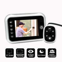 Nuevo 3,5 LCD Color pantalla electrónica timbre puerta visor IR noche puerta mirilla Cámara foto/Video grabación Digital puerta Cámara