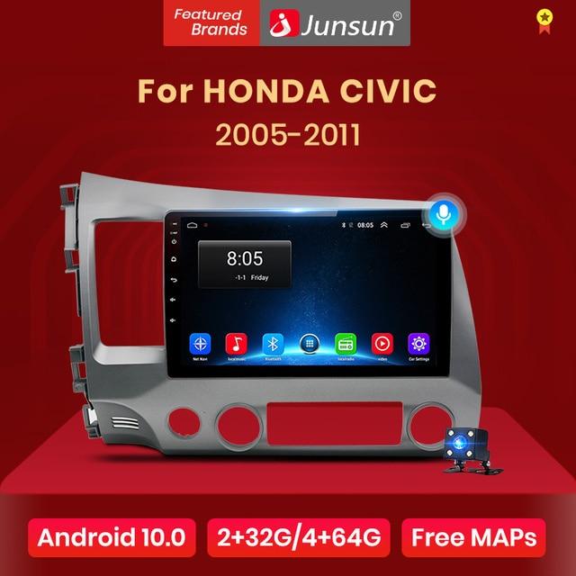 Junsun V1 AI Voice Control Android 10.0 DSP Car Radio For Honda Civic 8 2005 2006 2007 2008 2009 2011 Navigation No 2din 2 din