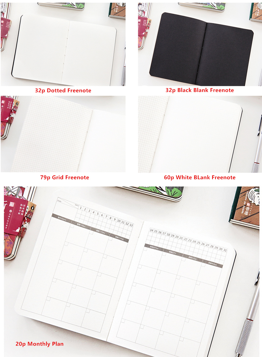 "Купить с кэшбэком ""Japanese Cat ver2"" Cute Monthly Planner Agenda Study Notebook Pocket Diary Freenote Travel Journal Stationery Gift"