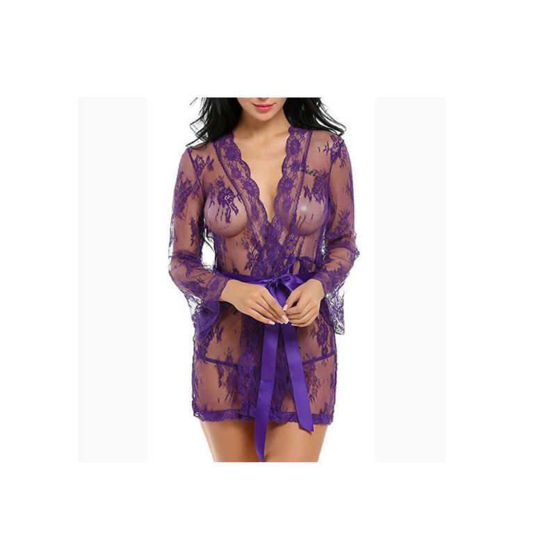 Women Lace Sexy See-through Mesh Sleepwear Transparent Robe Bathrobes Spring and Summer Lingerie Sets
