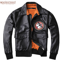 Men Leather Jacket Military Pilot Jackets Air Force Flight Jacket Black Brown 100% Calf Skin Coat Spring Autumn 4XL M371(China)