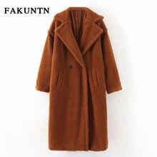 Женская куртка из меха ягненка fakuntn 2020 Повседневная Длинная