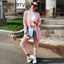 JaMerry, винтажный Повседневный женский розовый клетчатый Блейзер, Осенний однобортный костюм с длинным рукавом, женские офисные штаны, костюмы, зимняя верхняя одежда