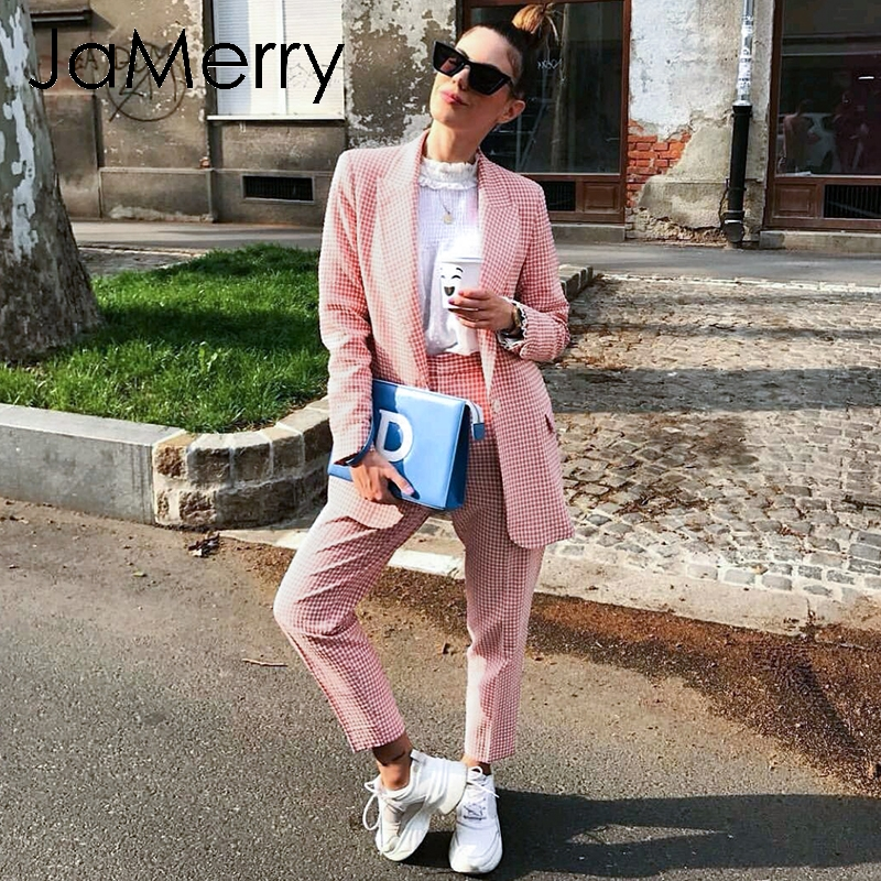 JaMerry Vintage Casual Women Pink Plaid Blazer Suit Autumn Single Breasted Long Sleeve Female Office Pants Suits Winter Outwear
