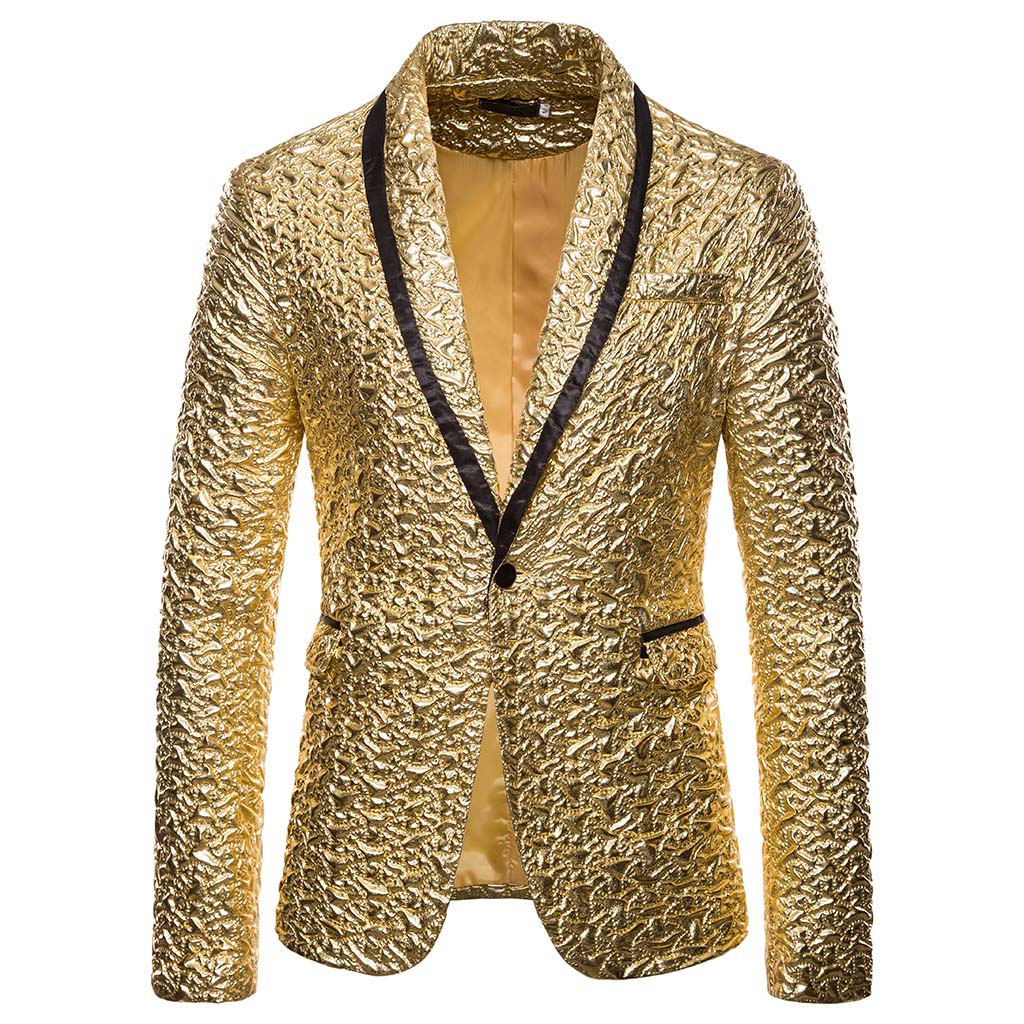 MJARTORIA  Fashion Men Shiny Blazers Gold Glitter Suit Jackets Male Nightclub One Button Suit Blazer DJ Stage Blazers