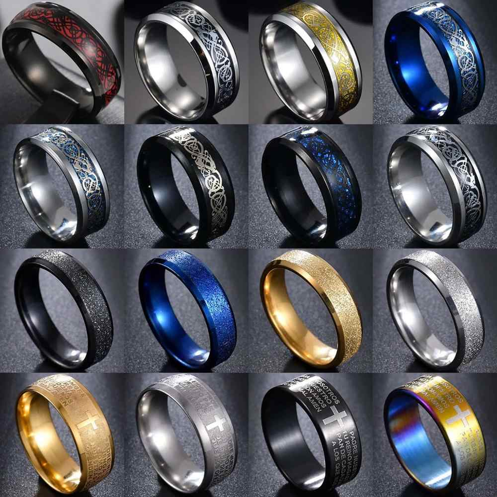 8 kleuren in Rvs Dragon Ringen Mannen Sieraden Engagement Retro Vintage Ringen Cross Bijbel Mannen Anel Breed 8mm /6mm