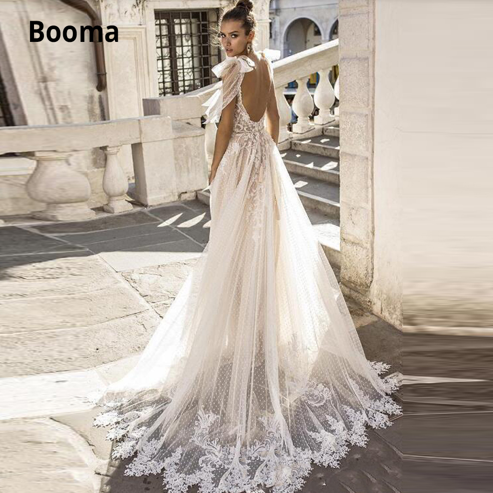 Booma Spaghetti Straps Sleeveless Bohemia Lace Wedding Dresses Boho Bridal Gown Beach Princess Wedding Gown With Long Train